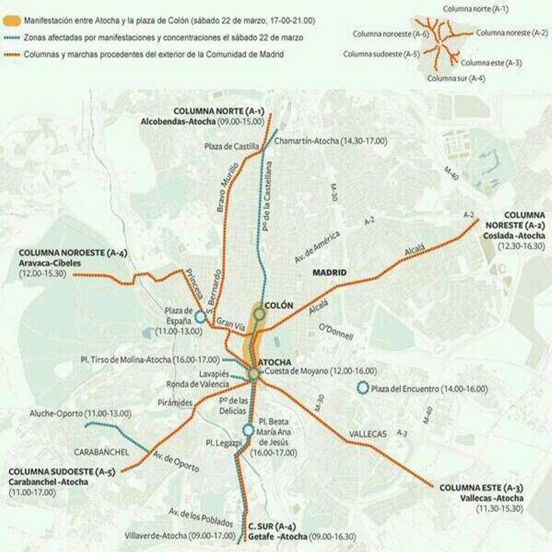 Plano recorridos | Marchas de la Dignidad | 22 de marzo de 2014 | Madrid