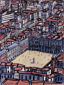 Vista áerea de la Plaza Mayor de Madrid | Cuadro sobre madera de José G. Alcalá