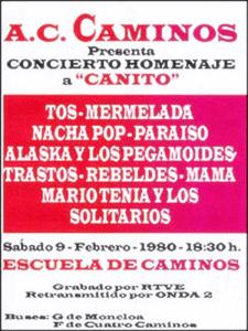 Concierto Homenaje a 'Canito' | Escuela de Caminos | Madrid | 9 de febrero de 1980 | Cartel