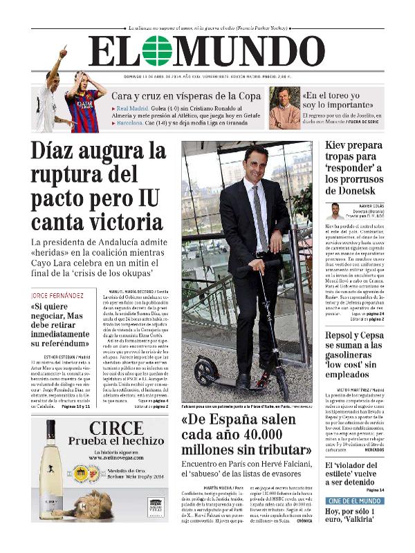 'De España salen cada año 40.000 millones sin tributar'   Hervé Falciani   'El Mundo'   13-04-2014