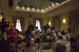 La Sala Manuel de Falla de la SGAE momentos antes de la doble presentación de Joaquín Lera | (CC) Paula Díaz