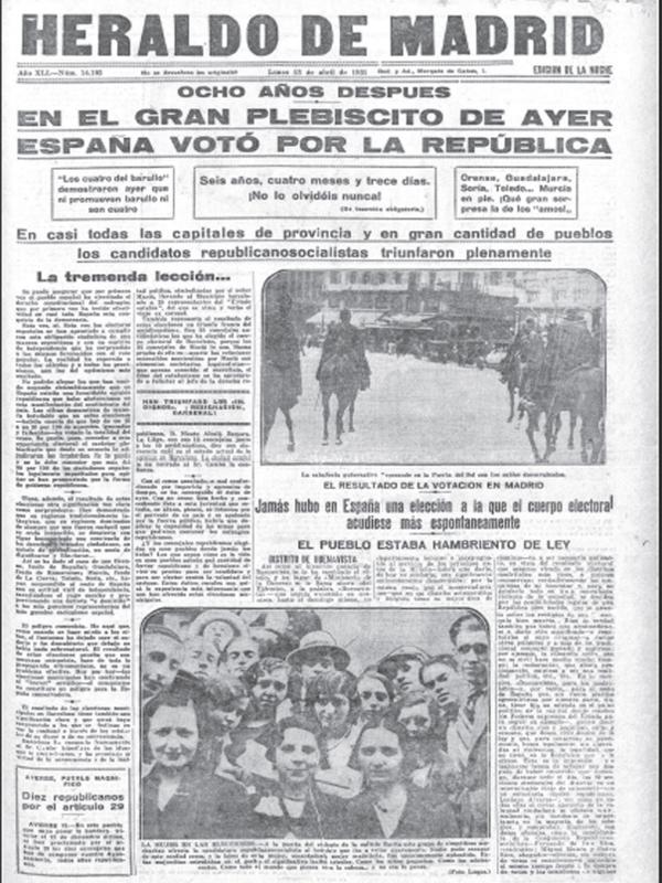 Primera plana | 'El Heraldo de Madrid' | Lunes 13 de abril de 1931