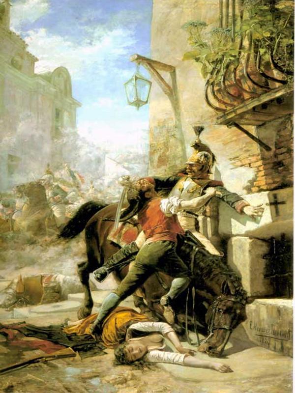 Malasaña y su hija se baten contra los franceses en una de las calles que bajan del Parque a la de San Bernardo. Dos de mayo de 1808 | 1887 | Eugenio  Álvarez Dumont | Museo Nacional del Prado (Madrid)
