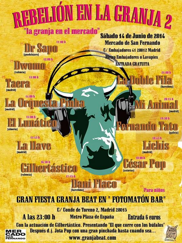 Cartel del Festival Rebelión en la Granja 2 | La granja en el mercado | Granja Beat Grabaciones Agropecuarias | Mercado de San Fernando | Lavapiés - Madrid
