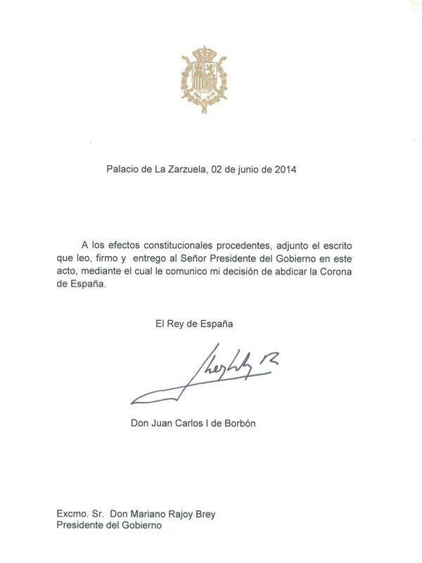 Documento de abdicación de Juan Carlos I de Borbón | Rey de España (1975-2014) | Lunes 2 de junio de 2014