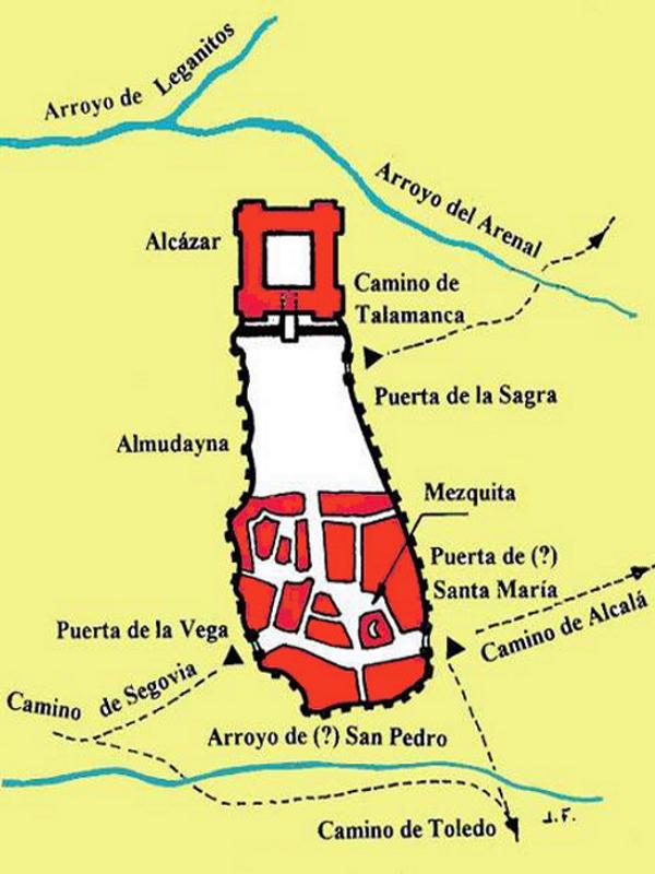 Plano del Madrid islámico en el siglo X donde podemos apreciar el alcázar al norte y la almudayna y la medina al sur.