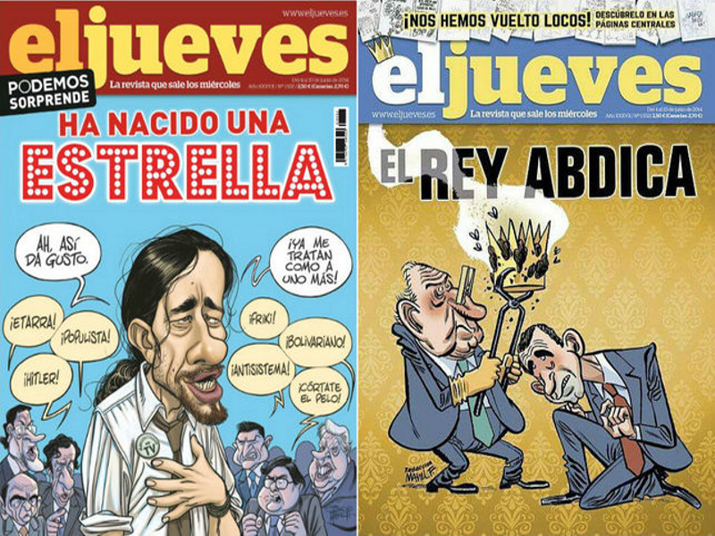Portada de El Jueves en los quioscos (izquierda) y portada de El Jueves censurada (derecha)
