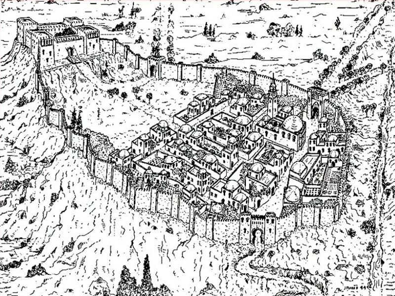Reconstrucción aproximada del  Madrid islámico con el alcázar dominando la almudayna rodeada por la muralla