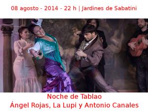 08 agosto - 2014 - 22:00 h | Jardines de Sabatini | Ángel Rojas, La Lupi y Antonio Canales - 'Noche de Tablao' | Veranos de la Villa 2014 - Madrid