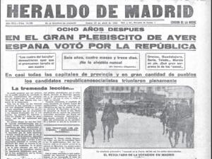 Cabecera | Primera plana | 'El Heraldo de Madrid' | Lunes 13 de abril de 1931