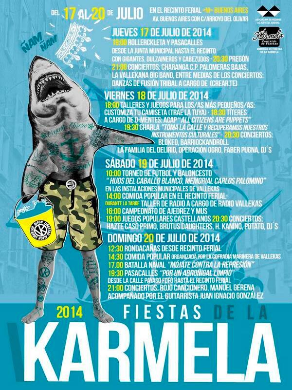 Cartel Fiestas de la Karmela 2014 | Del 17 al 20 de julio de 2014 | Puente de Vallecas - Madrid