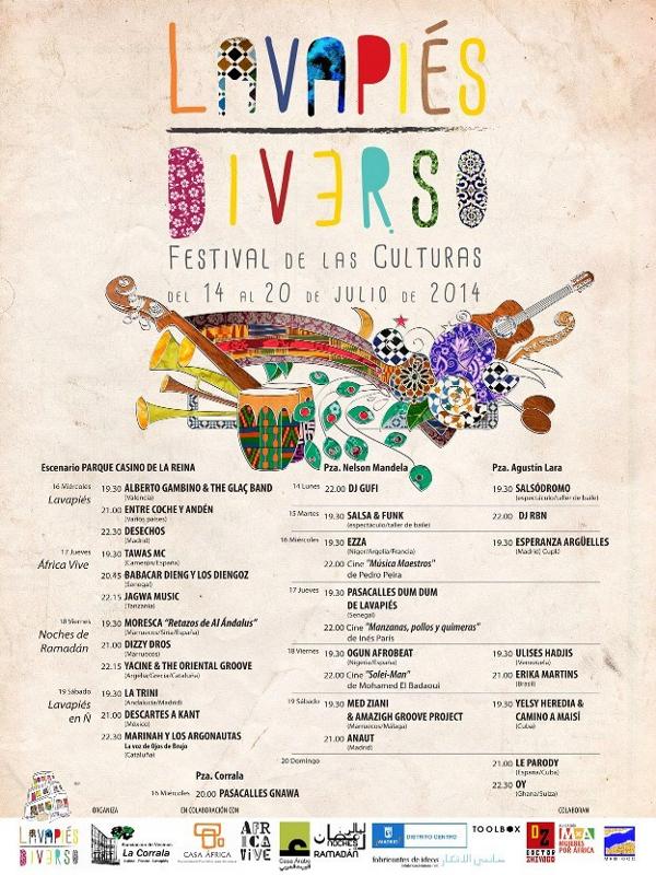 Cartel | Lavapiés Diverso | Festival de las Culturas | Del 14 al 20 de julio de 2014 | Diseño de Pablo Pámpano Vaca
