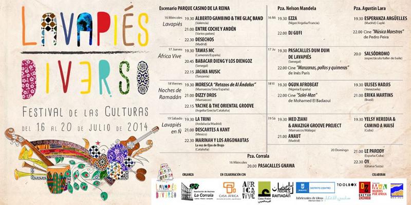 Nuevo Cartel Programación| Lavapiés Diverso | Festival de las Culturas | Del 16 al 20 de julio de 2014 | Diseño de Pablo Pámpano Vaca