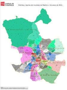 Plano   Distritos y barrios de Madrid   A 01/01/2014   Fuente Instituto de Estadística de la Comunidad de Madrid