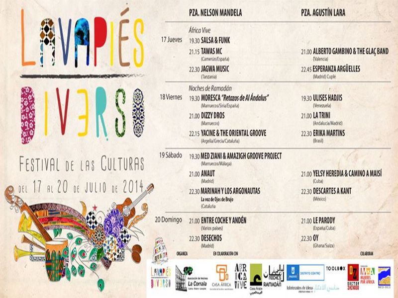 Programación definitiva | Lavapiés Diverso | Festival de las Culturas | Del 17 al 20 de julio de 2014 | Diseño Pablo Pámpano