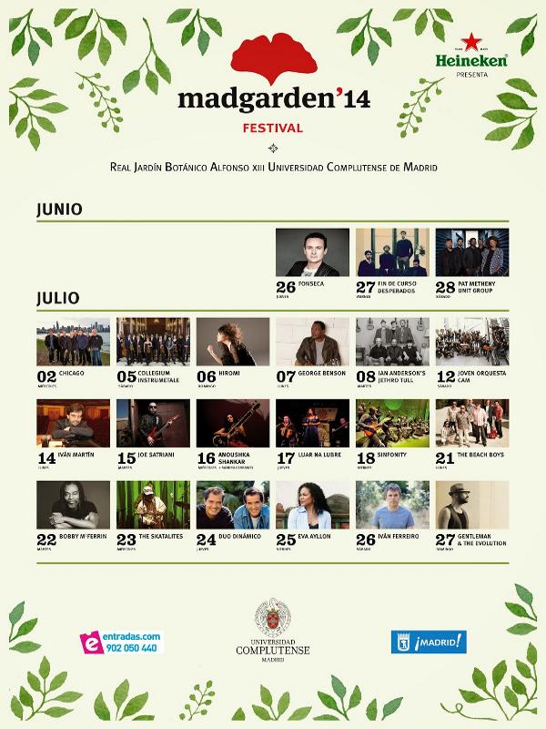 Programación Mad Garden Festival 2014   26 junio - 27 julio - 2014   Jardín Botánico Alfonso XIII - UCM   Veranos de la Villa 2014   Madrid