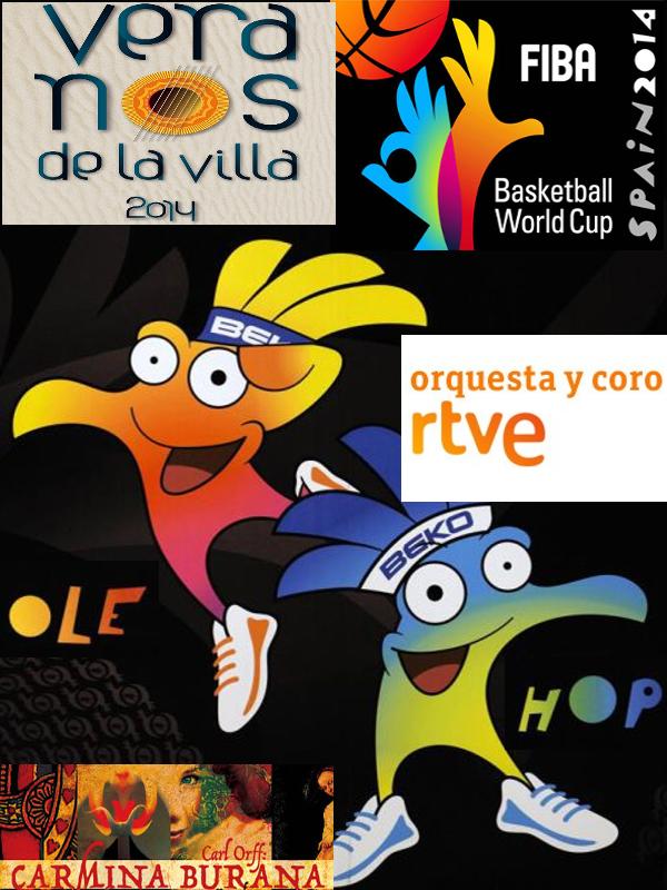 Olé y Hop, las mascotas del Mundial de Baloncesto España 2014, estarán presentes en el concierto extraordinario de 'Carmina Burana' interpretado por la Orquesta y Coro de RTVE en la Plaza Mayor de Madrid incluido en los Veranos de la Villa 2014