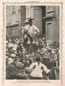 Procesión de San Cayetano en el Barrio de Embajadores de Madrid | Fotografía publicada en una revista en 1912