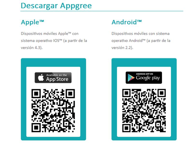 Puedes descargar Appgree escaneando con tu dispositivo móvil los códigos QR para IOS y Android