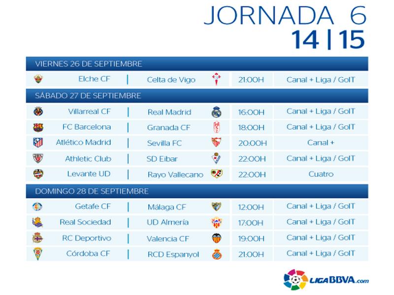 Calendario | Jornada Quinta | Liga BBVA | Temporada 2014-2015 | 26, 27 y 28 de septiembre de 2014