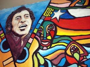 Mural a Víctor Jara | Pintado en el Galpón Víctor Jara sede de la Fundación Víctor Jara | Barrio Brasil - Santiago - Chile