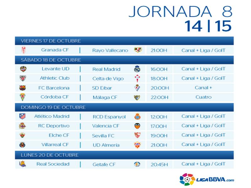 Calendario | Jornada Octava | Liga BBVA | Temporada 2014-2015 | Del 17 al 20 de octubre de 2014