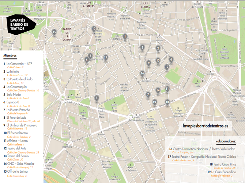 Lavapiés Barrio de Teatros | Mapa de las 15 salas teatrales asociadas y de los 4 espacios colaboradores | Barrio de Lavapiés | Madrid