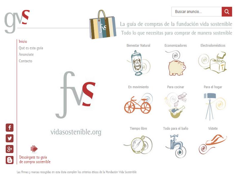 Portada sitio web Guía Vida Sostenible (GVS) de la Fundación Vida Sostenible (FVS) | 2014