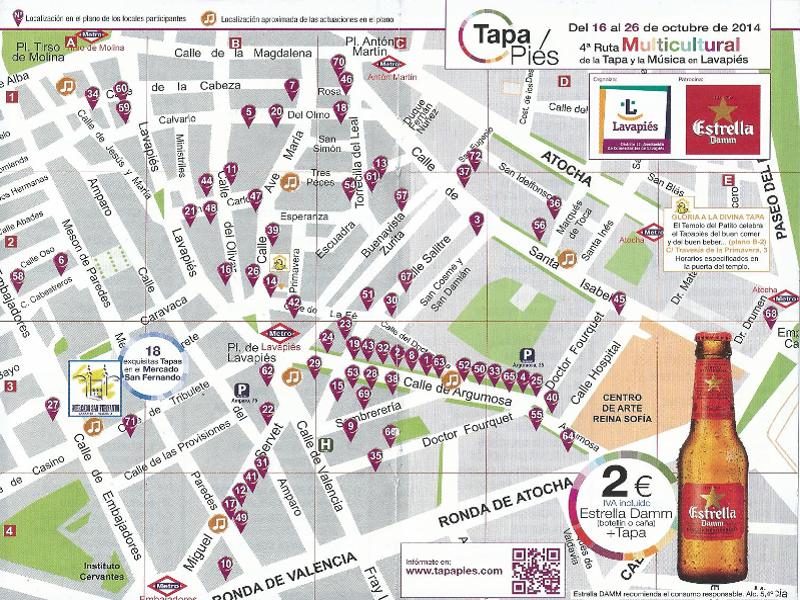 Tapapiés 2014 | 4ª Ruta Multicultural de la Tapa y la Música de Lavapiés | Del 16 al 26 de octubre de 2014 | Mapa locales y actuaciones