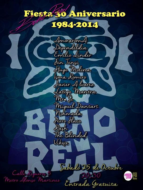 30º Aniversario Sala Búho Real | Madrid | 25/10/2014 | Cartel