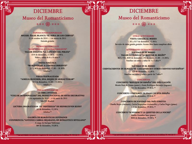 Agenda de actividades | Museo del Romanticismo | Madrid | Diciembre 2014