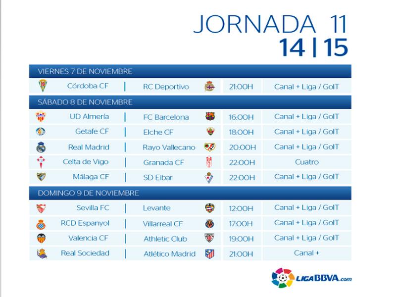 Calendario Jornada 11ª | Liga BBVA Temporada 2014-2015 | Del 7 al 9 de noviembre de 2014