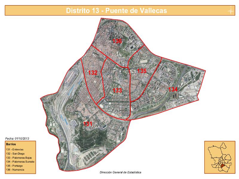 Los 6 barrios del distrito puente de vallecas de madrid - Plano de aravaca ...