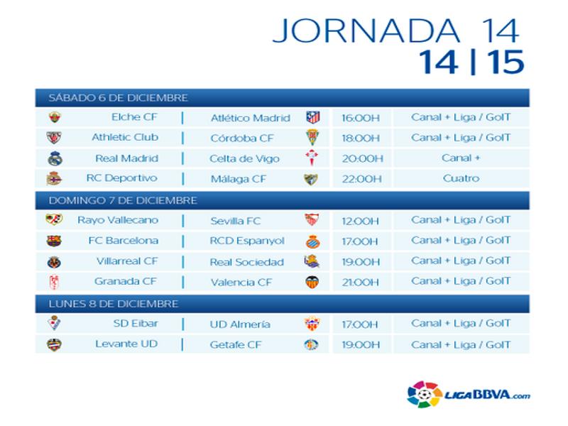 Calendario | Jornada Décimo cuarta| Liga BBVA | Temporada 2014-2015 | Del 6 al 8 de diciembre de 2014