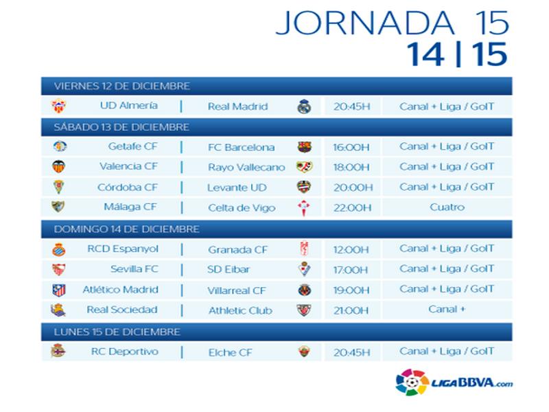 Calendario | Jornada Décimo quinta| Liga BBVA | Temporada 2014-2015 | Del 12 al 15 de diciembre de 2014