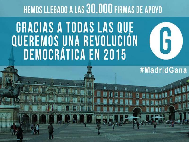 'Ganemos Madrid' alcanza las 30.000 firmas de apoyo en 2 meses | #MadridGana | EM2015