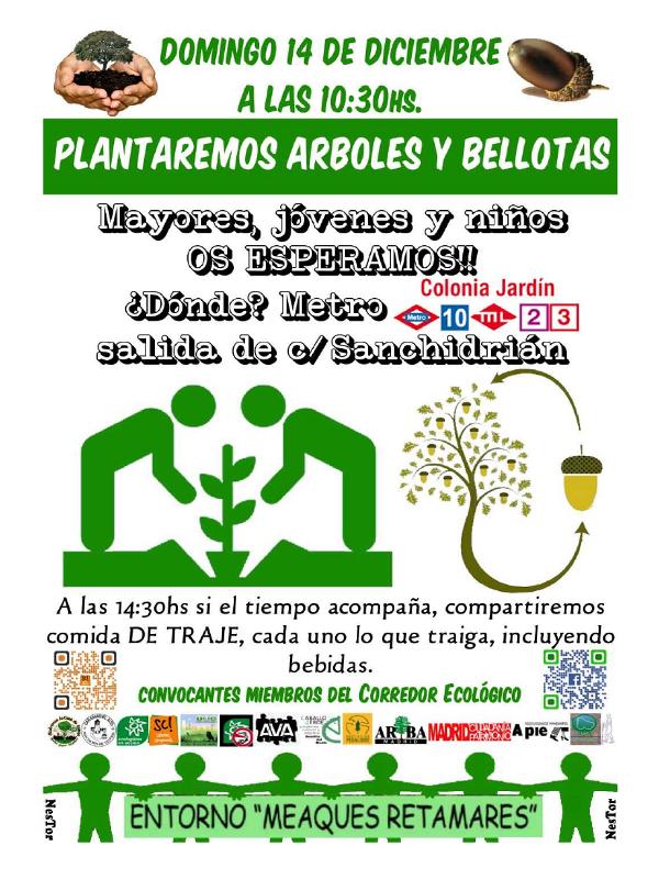 'Plantaremos Árboles y Bellotas' | '¡Por un paseo arbolado para Campamento!' | Grupo Entorno Meaques-Retamares y Plataforma Ciudadana Salvemos Campamento de Madrid | Domingo 14 de diciembre de 2014 | Cartel