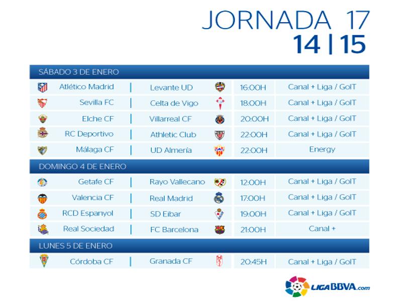 Calendario | Jornada décimo séptima| Liga BBVA | Temporada 2014-2015 | Del 3 al 5 de enero de 2015