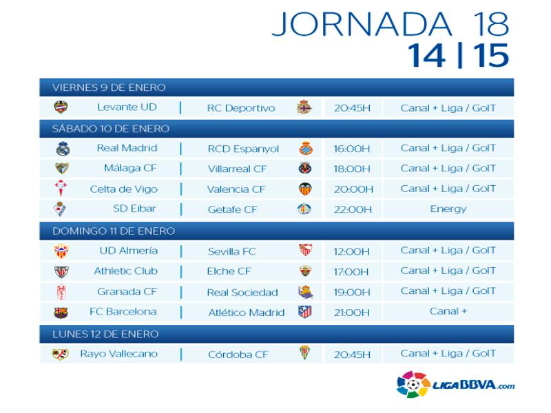 Calendario | Jornada décimo octava | Liga BBVA | Temporada 2014-2015 | Del 9 al 12 de enero de 2015