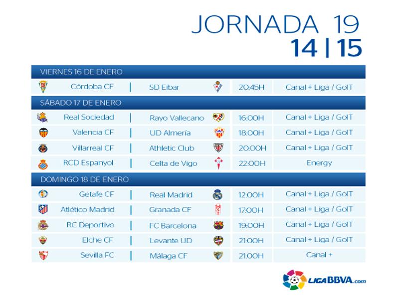 Calendario | Jornada décimo novena| Liga BBVA | Temporada 2014-2015 | Del 16 al 18 de enero de 2015