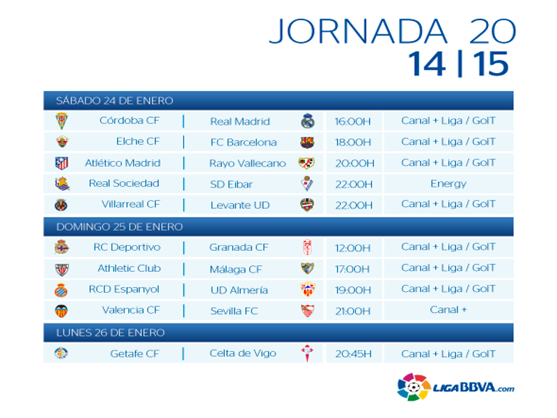 Calendario | Jornada vigésima | Liga BBVA | Temporada 2014-2015 | Del 24 al 26 de enero de 2015