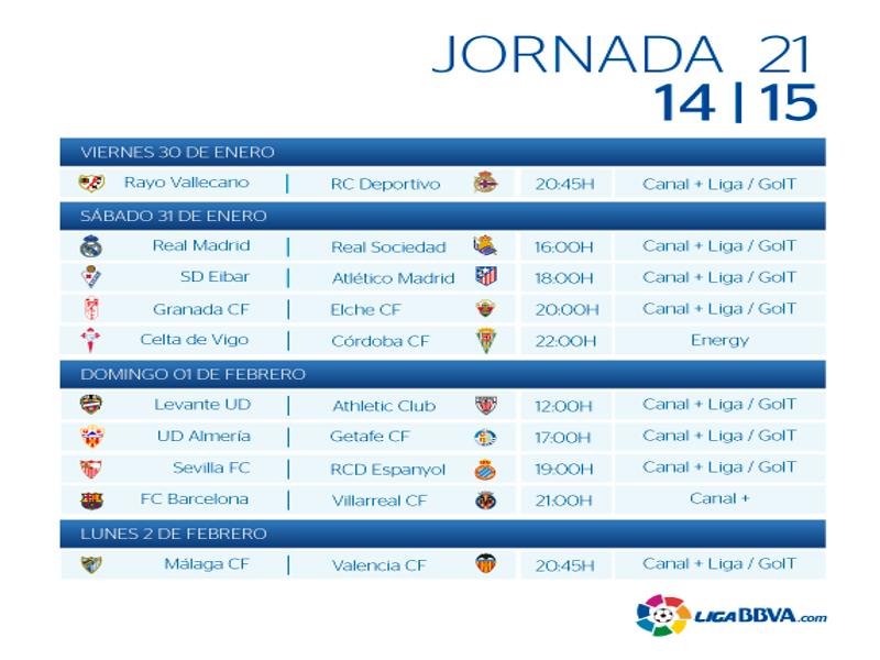 Calendario | Jornada vigésimo primera| Liga BBVA | Temporada 2014-2015 | Del 30 de enero al 2 de febrero de 2015