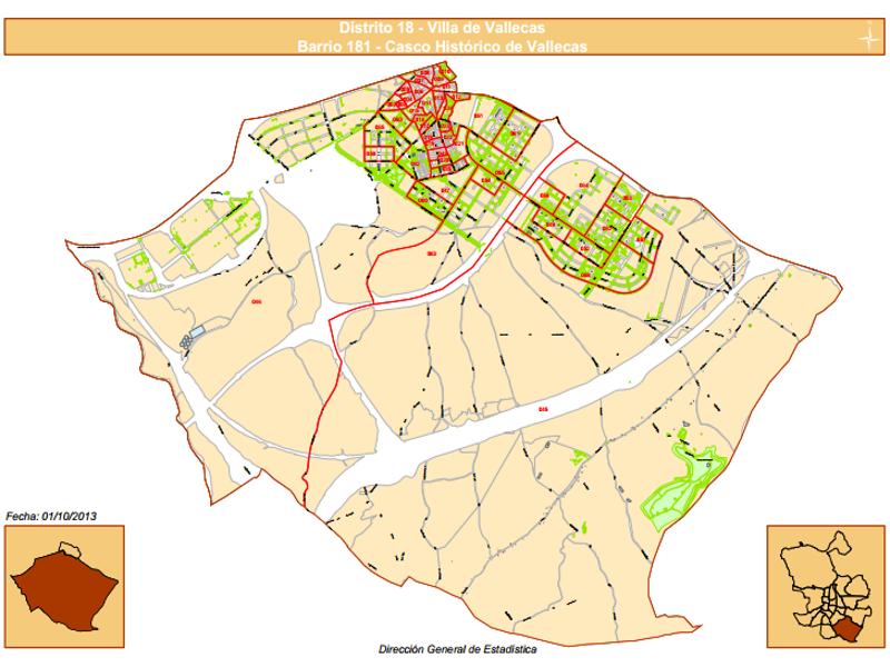 Plano del Barrio Casco Histórico de Vallecas del Distrito Villa de Vallecas de Madrid | Fuente: Dirección General de Estadística del Ayuntamiento de Madrid