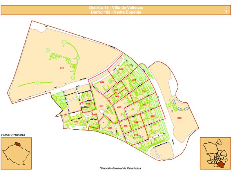 Plano del Barrio de Santa Eugenia del Distrito Villa de Vallecas de Madrid | Fuente: Dirección General de Estadística del Ayuntamiento de Madrid
