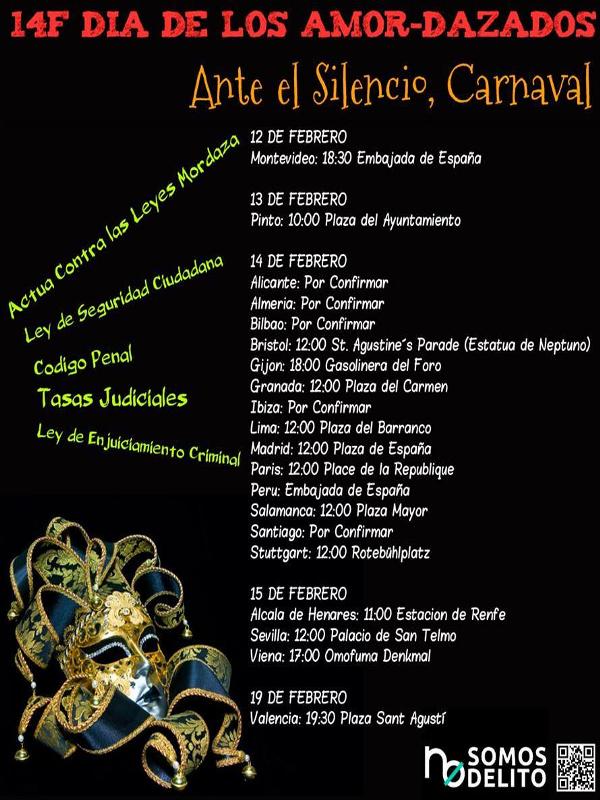 14F 'Día de los Amor-dazados'   'Ante el silencio, Carnaval'   No somos delito   Del 12 al 19 de febrero de 2015   Cartel