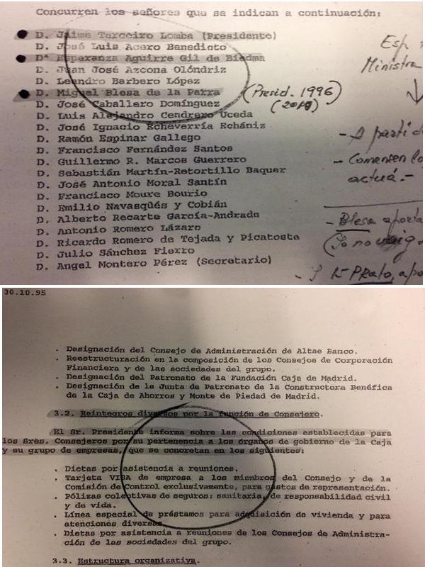 Actas del Consejo de Administración de Caja Madrid del 30-10-1995 | Esperanza Aguirre autorizó las tarjetas 'black'