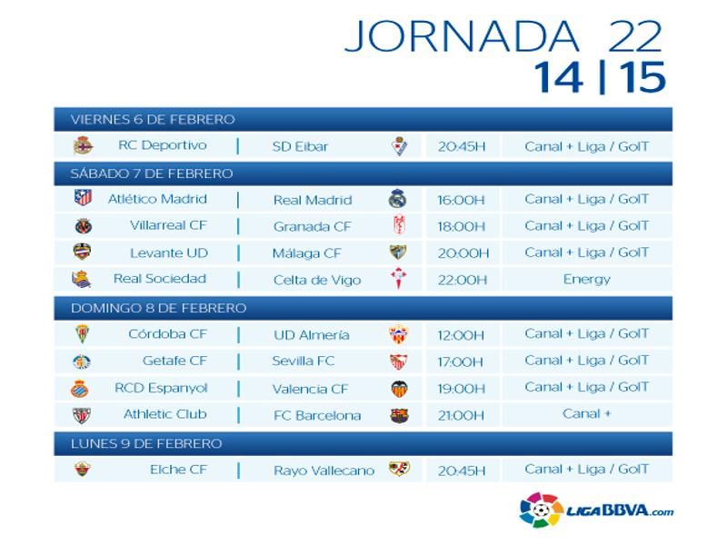 Calendario | Jornada vigésimo segunda | Liga BBVA | Temporada 2014-2015 | Del 06 al 09 de febrero de 2015