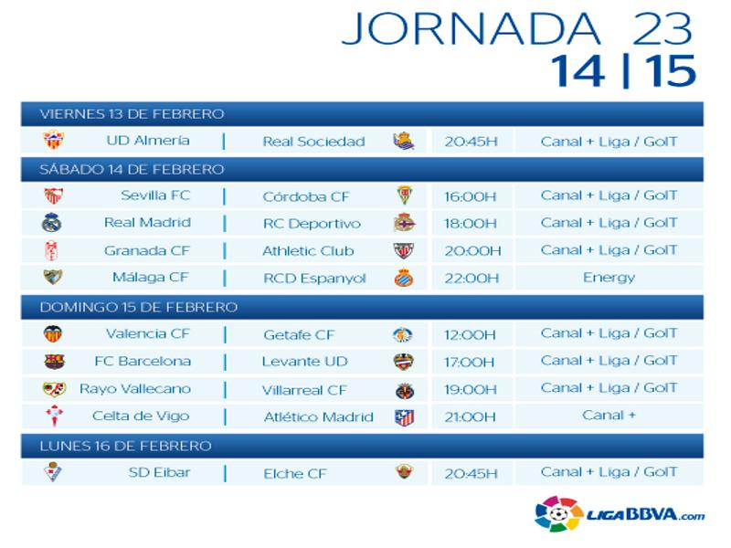 Calendario | Jornada vigésimo tercera| Liga BBVA | Temporada 2014-2015 | Del 13 al 16 de febrero de 2015
