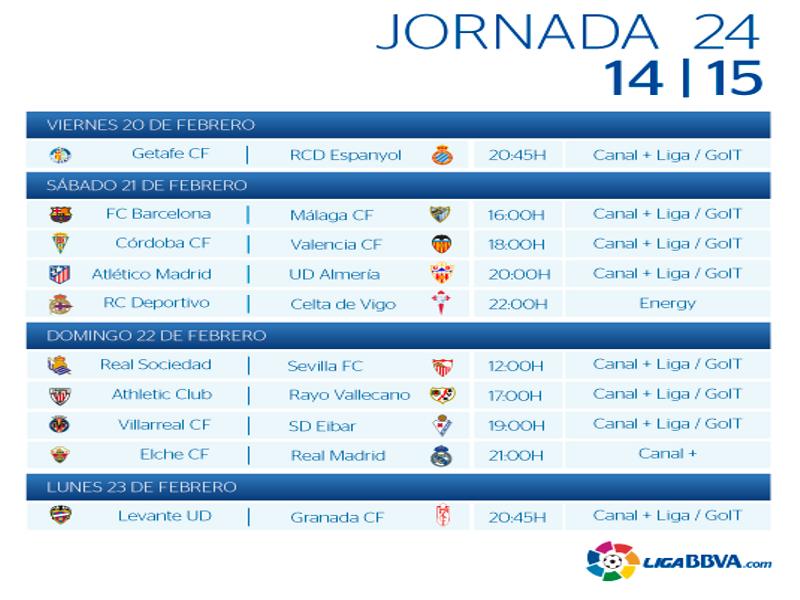 Calendario | Jornada vigésimo cuarta | Liga BBVA | Temporada 2014-2015 | Del 20 al 23 de febrero de 2015