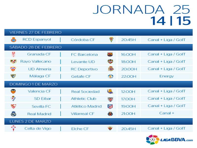Calendario | Jornada vigésimo quinta | Liga BBVA | Temporada 2014-2015 | Del 27 de febrero al 2 de marzo de 2015